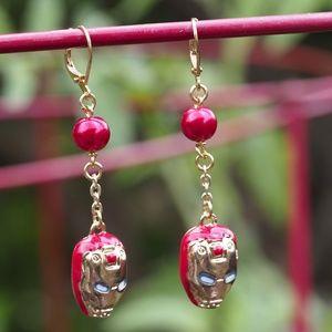Red Iron Man Earrings